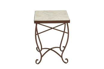 16 Inch Traditional Marble And Iron Scroll Accent Table
