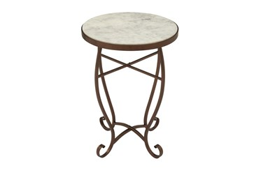 16 Inch Traditional Scrolled Round Metal And Marble Accent Table