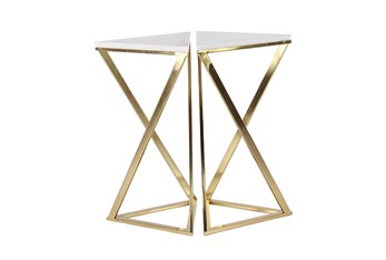 Gold And Marble Hourglass Accent Tables-Set Of 2