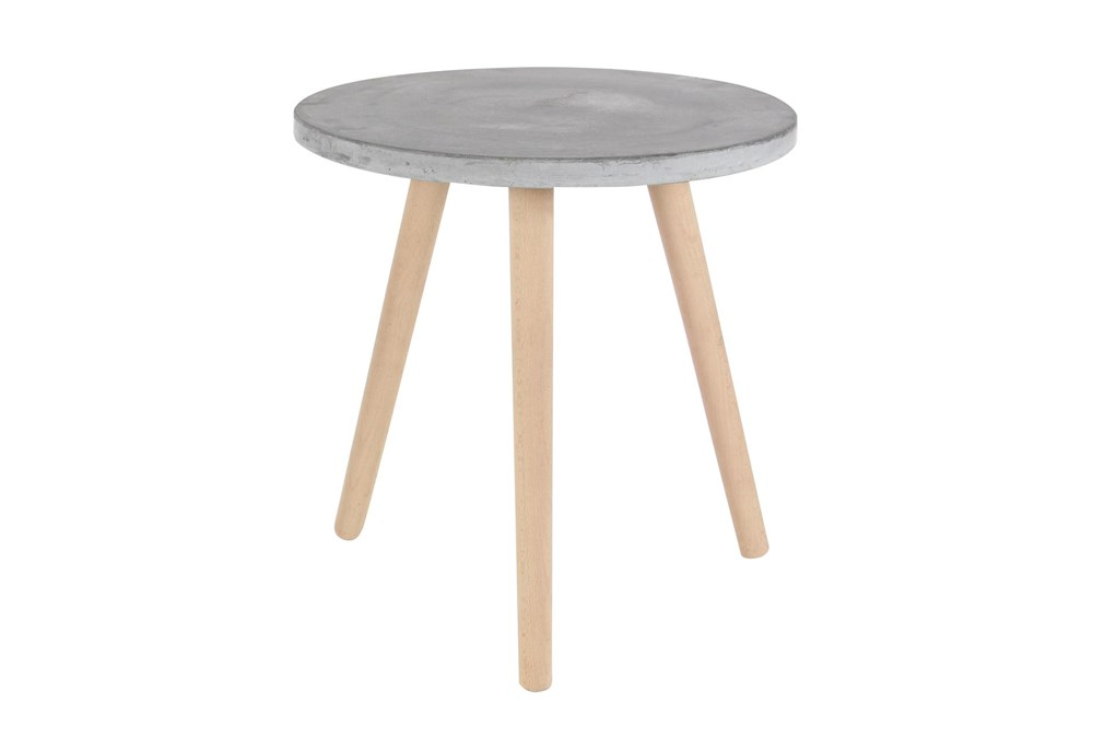 17 Inch Contemporary Beech Wood And Grey Fiber Clay Round Table