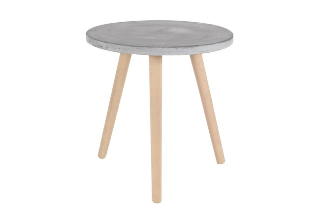 17 Inch Contemporary Beech Wood And Grey Fiber Clay Round Table - 360