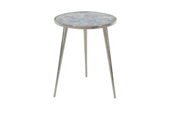17 Inch Contemporary Round Aluminum Tripod Side Table With Agate Stone Accents