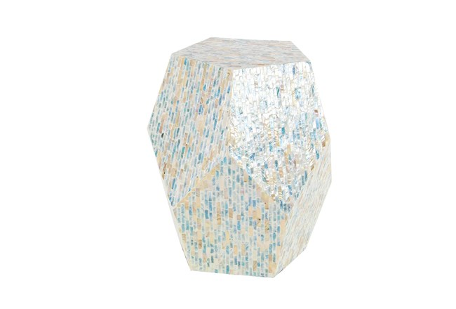 16 Inch Shell Pentagon Faceted Multi-Color Drum Accent Table - 360