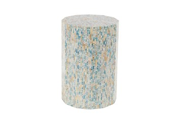 13 Inch Natural Wood And Shell Round Faceted Multi-Color Accent Table