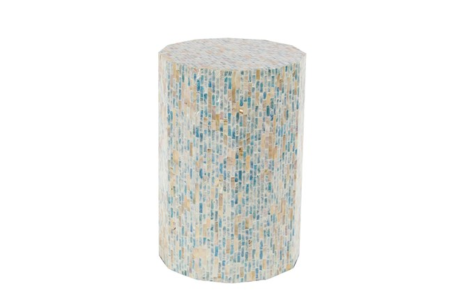 13 Inch Natural Wood And Shell Round Faceted Multi-Color Accent Table - 360