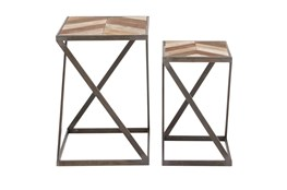 Geometric Wood And Metal Accent Tables-Set Of 2
