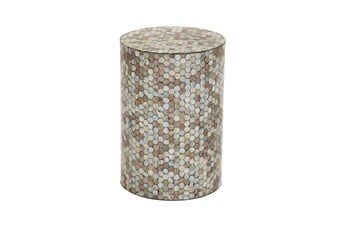 14 Inch Round End Table With Freshwater Pearl Shell Honeycomb Inlay