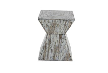 16 Inch Shell Inlaid Wooden Accent Table