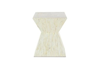 16 Inch Contemporary White Shell Inlaid Wooden Accent Table