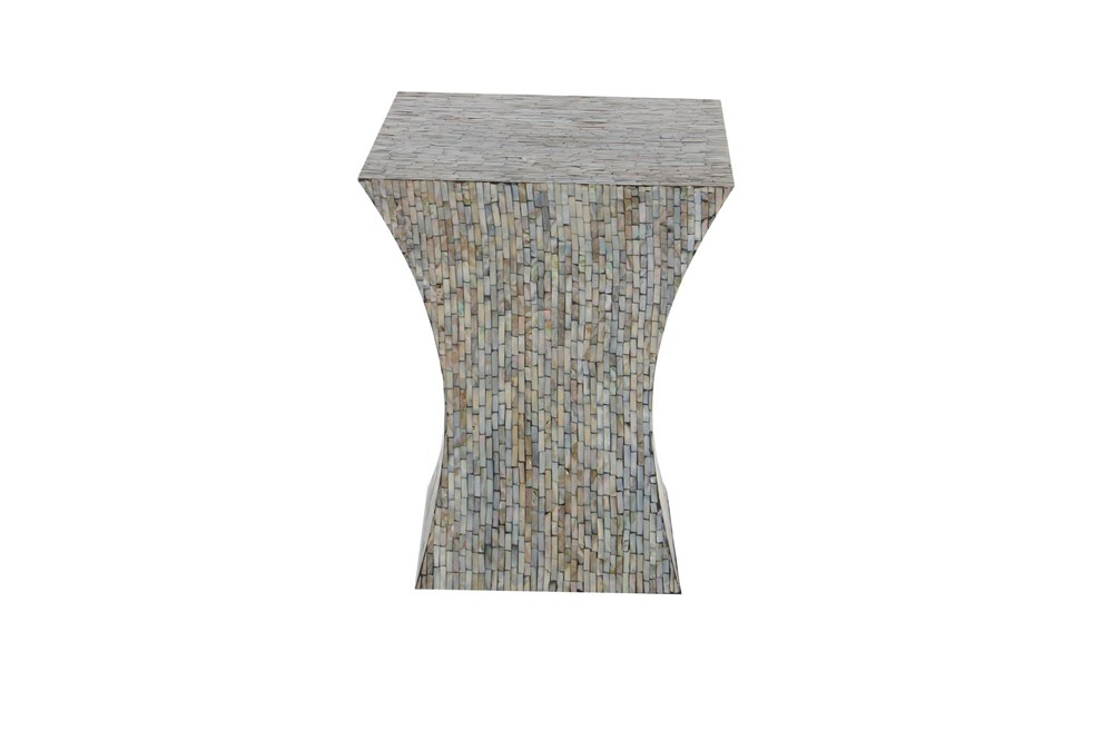 15 Inch Contemporary Multi-Colored Shell Inlaid Wooden Accent Table