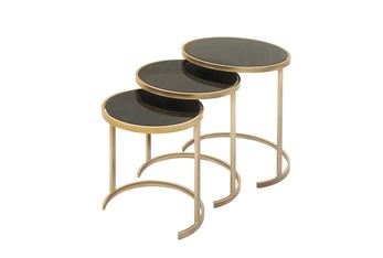 Metallic Gold And Black Nesting Accent Tables-Set Of 3