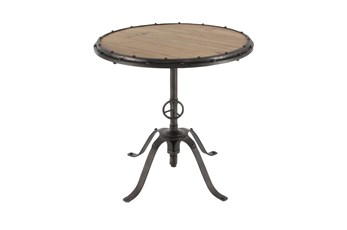 30 Inch Adjustable Wood And Metal Bistro Accent Table