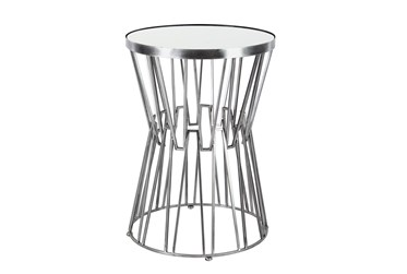 Modern Iron And Glass Top Hourglass-Shaped Accent Table