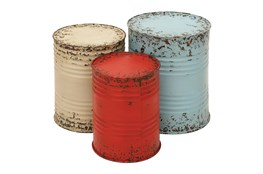 Red, White, & Blue Small Metal Drum Round End Tables-Set Of 3