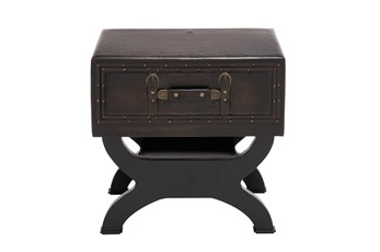 Traditional Espresso Brown Wood & Leather End Table With Drawer, Buckles & Decorative Studs