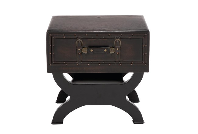 Traditional Espresso Brown Wood & Leather End Table With Drawer, Buckles & Decorative Studs - 360