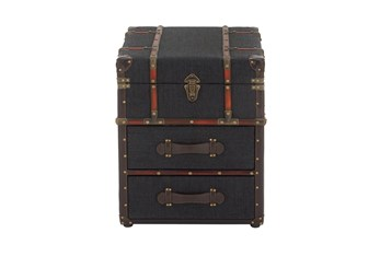 Traditional Style Navy Blue Storage Trunk End Table With 2 Drawers And Leather Trim