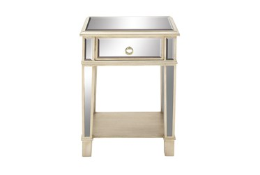Gold And Mirror End Table