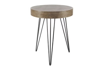 20 Inch Modern Wood And Iron Round Accent Table