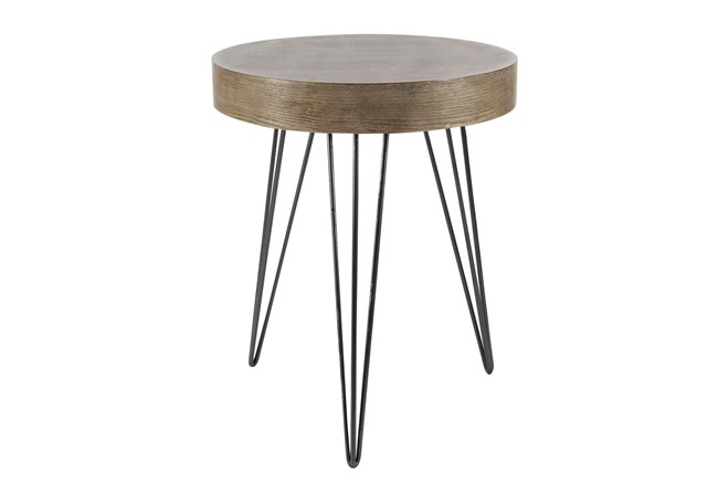 20 Inch Modern Wood And Iron Round Accent Table - 360