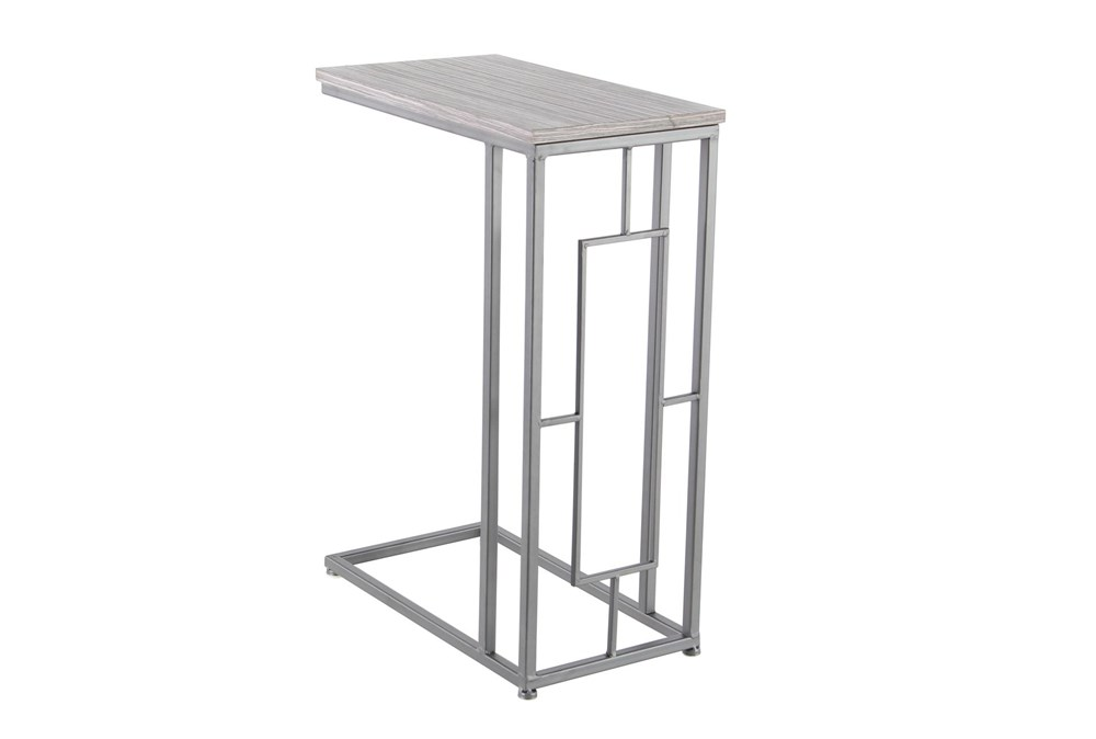 Contemporary Stained Iron And Mdf Wood Rectangular Accent Table