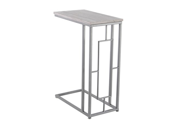Contemporary Stained Iron And Mdf Wood Rectangular Accent Table - 360