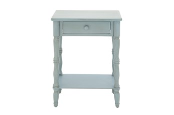 Farmhouse Light Turquoise One-Drawer Side Table