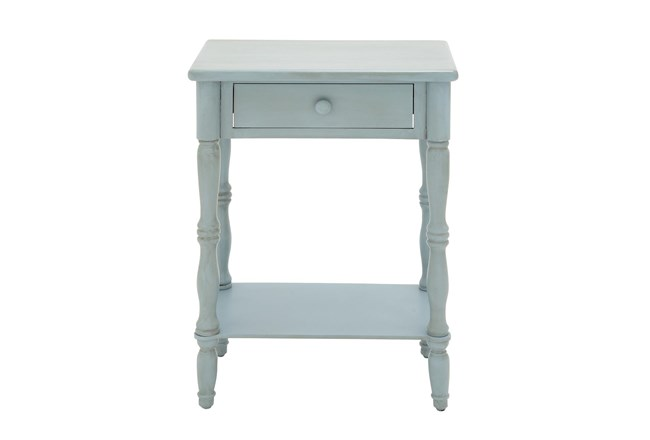 Farmhouse Light Turquoise One-Drawer End Table - 360
