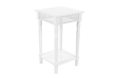 16 Inch Farmhouse Square Mdf And Fir Wood End Table