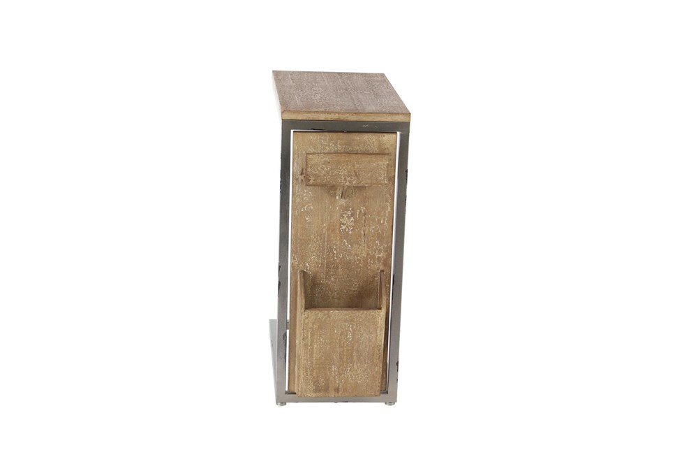Wood And Metal C Table With Storage