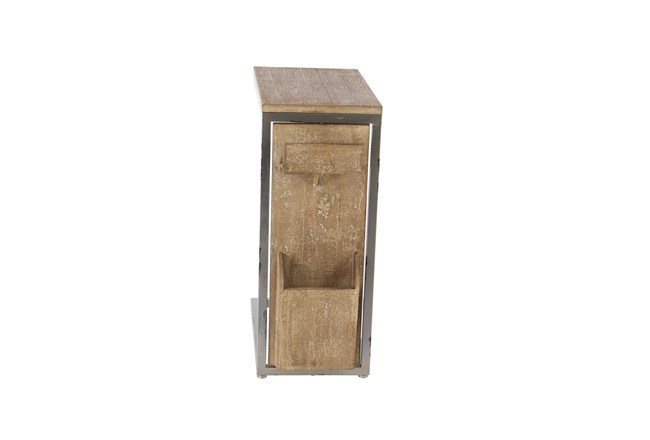 Wood And Metal C Table With Storage - 360