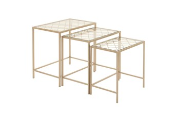 Metallic Gold Metal & Glass Nesting Accent Tables With Quatrefoil Grid Pattern-Set Of 3