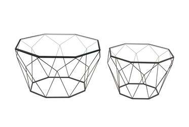 Contemporary Geometric Black Accent Tables-Set Of 2