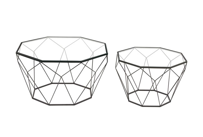 Contemporary Geometric Black Accent Tables-Set Of 2 - 360