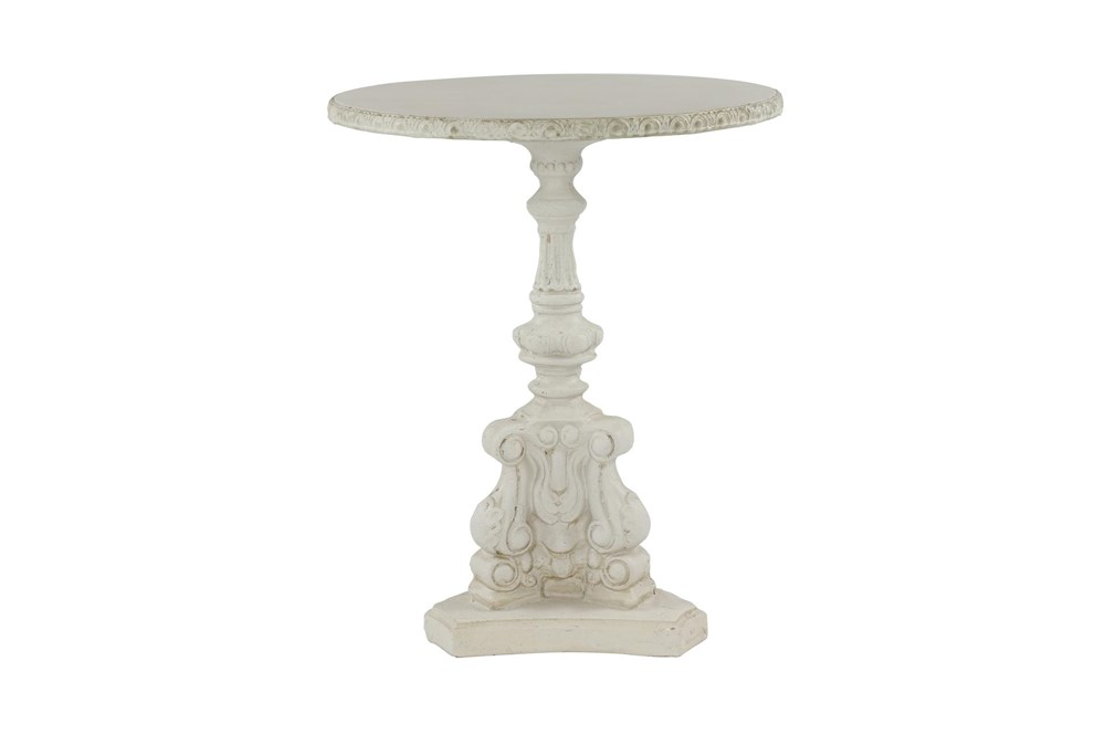 French Country Round White Wooden End Table With Ornate Scrollwork
