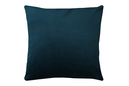 24X24 Superb Peacock Teal Blue Velvet Throw Pillow - Main