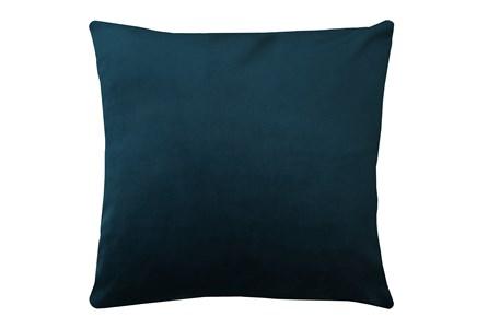 24X24 Superb Peacock Teal Blue Velvet Throw Pillow - Main