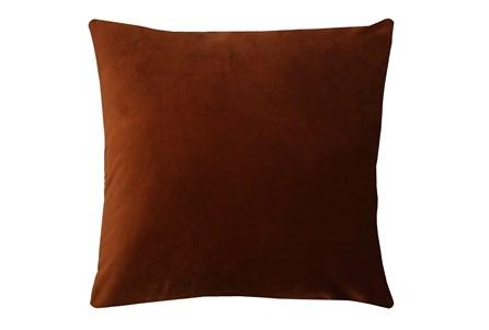 24X24 Superb Rust Orange Velvet Throw Pillow - Main