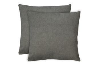 24X24 Set Of 2 Curious Silverpine Gray Throw Pillow