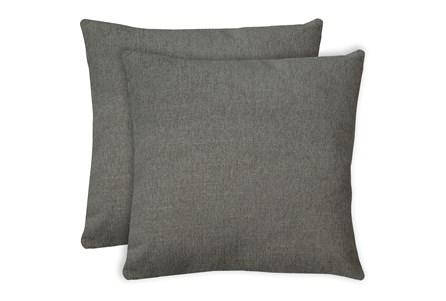 24X24 Set Of 2 Curious Silverpine Gray Throw Pillow - Main
