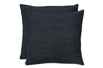 24X24 Set Of 2 Curious Eclipse Navy Blue Throw Pillow
