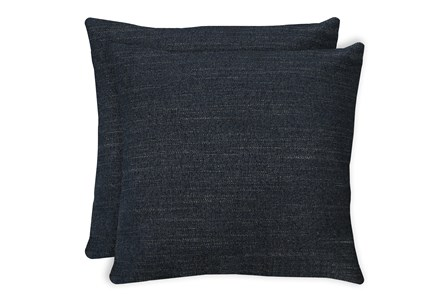 24X24 Set Of 2 Curious Eclipse Navy Blue Throw Pillow - Main