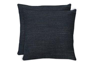 20X20 Set Of 2 Curious Eclipse Navy Blue Throw Pillow