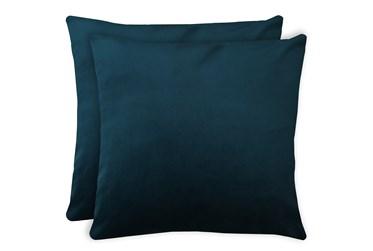 24X24 Set Of 2 Superb Peacock Teal Blue Velvet Throw Pillow