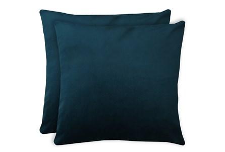 24X24 Set Of 2 Superb Peacock Teal Blue Velvet Throw Pillow - Main