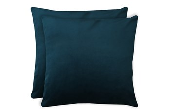 20X20 Set Of 2 Superb Peacock Teal Blue Velvet Throw Pillow
