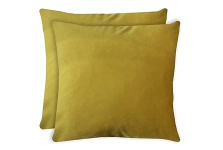 24X24 Set Of 2 Superb Dijon Yellow Velvet Throw Pillow - Main