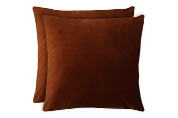 20X20 Set Of 2 Superb Rust Orange Velvet Throw Pillow