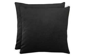 24X24 Set Of 2 Superb Gunmetal Black Velvet Throw Pillow