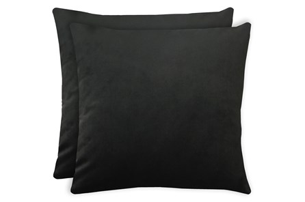 24X24 Set Of 2 Superb Gunmetal Black Velvet Throw Pillow - Main